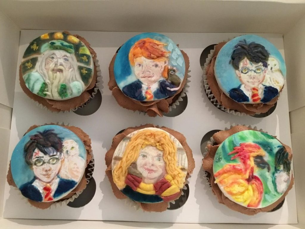 Magical cupcakes - Six chocolate cupcakes with chocolate buttercream each topped with a hand-painted, sugar paste disc, featuring a different children's character.